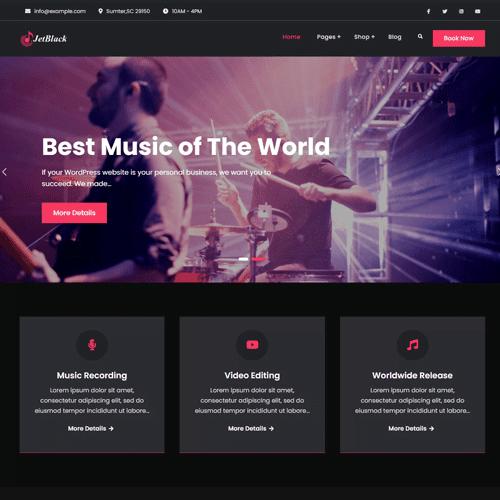 JetBlack Music Multipurpose Free Child WordPress Theme